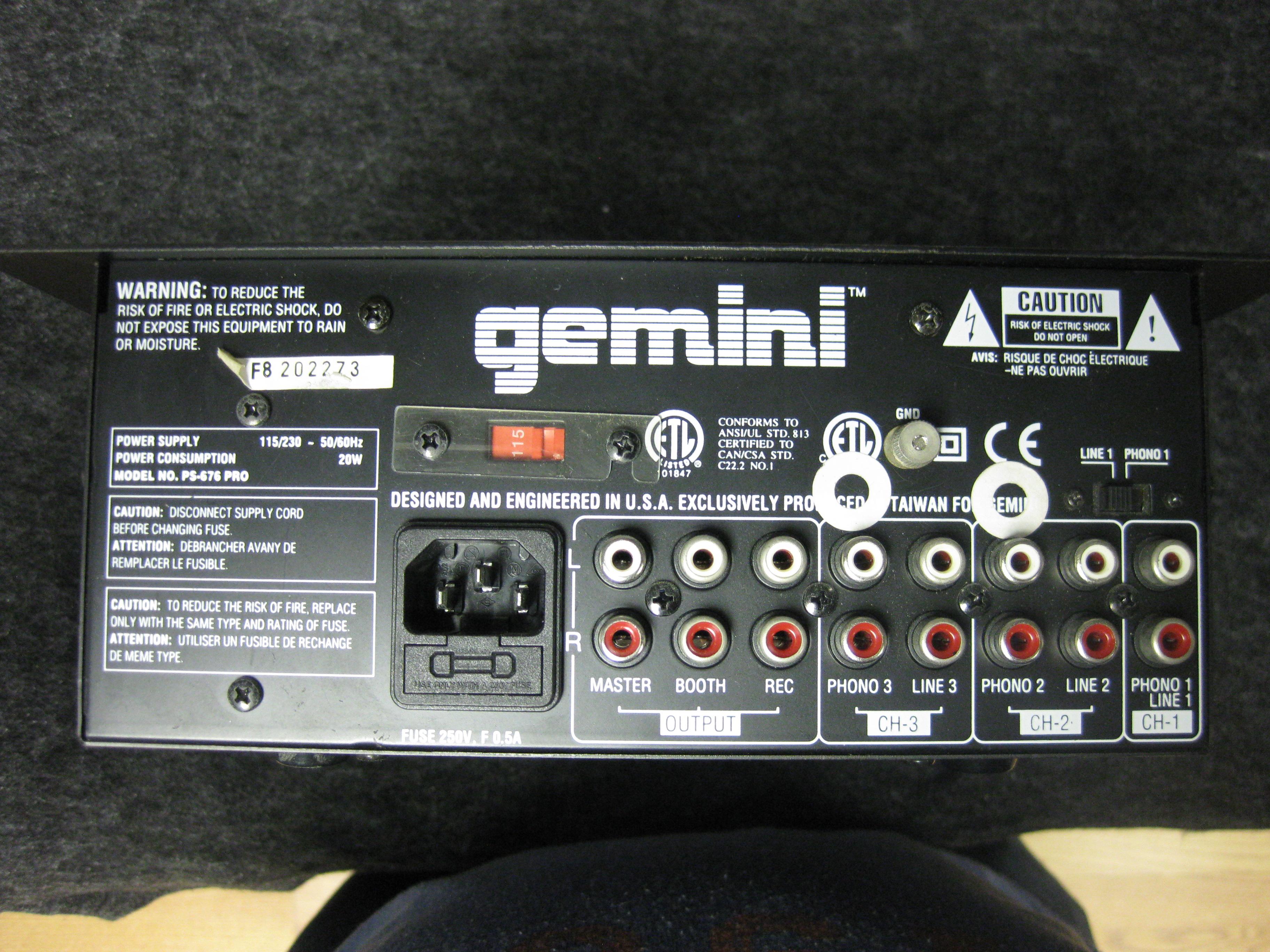 gemini PS-676 PRO Stereo Rack Mixer W/ Digital Sampler